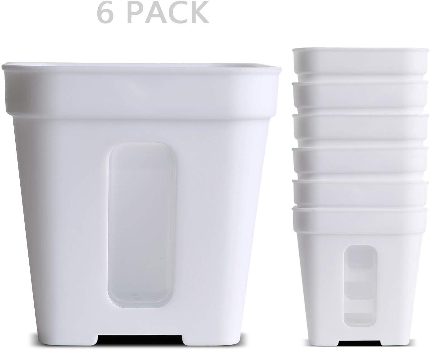 WUHOSTAM macetas cuadradas de plástico para Interior Blanco, macetas de guardería para Plantas o suculentas, Paquete de 6