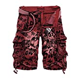 NiuZi Mens Loose Fit Cargo Shorts Camo Multi Pockets Summer Outdoor Wear Camouflage Pants (2292 Red Wine camo, US 34(Lable 36))