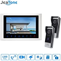 Jeatone 10 Inch 1200TVL HD Video Door Intercom Door Phone Recording Doorbell Camera Intercom Additional Monitor Support 1V2