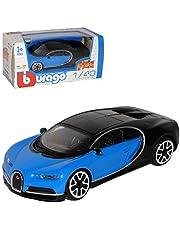 Bburago Bugatti Chiron middelgroot blauw met zwart AB 2016 1/43 model auto met individuele kentekenplaat