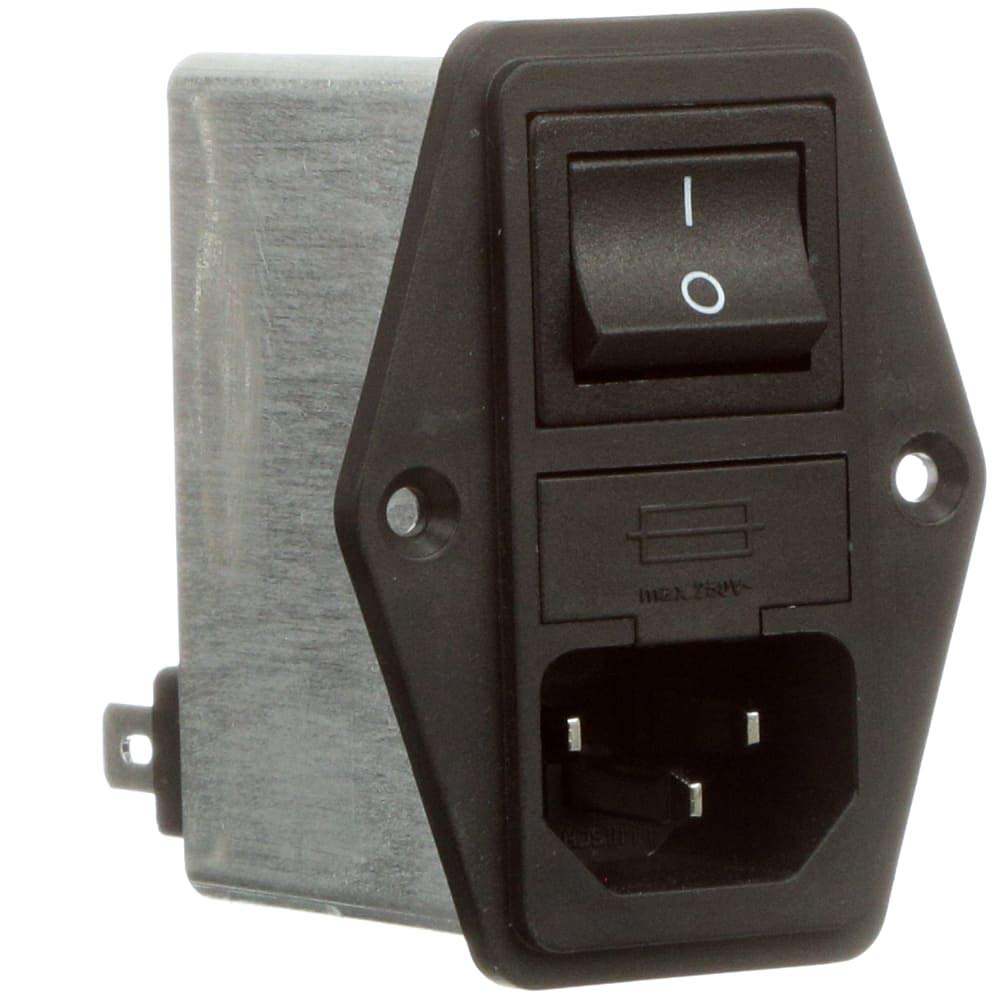 Power Entry Module; SINGLE PHASE IEC; 10 A; Fuse Holder; FAST ON; FN280 Series, Pack of 2