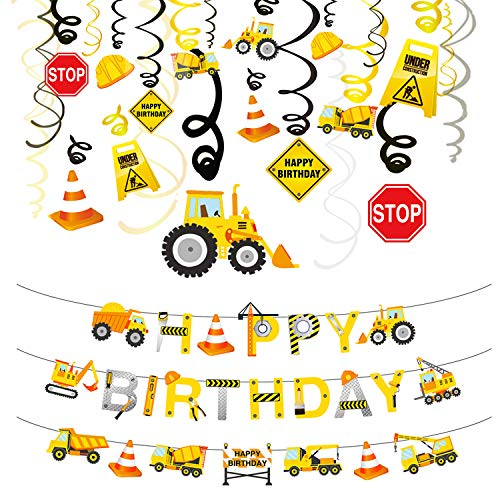 Phogary 31PCS Construction Birthday Party Decorations Set, Boys Birthday Construction Theme Party Favors Supplies Tractor Banner Excavators Bulldozers Dump Trucks Cement Trucks Decor