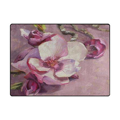 (imobaby Jennifer Amazing Magnolia Blossom Non-skid Indoor Area Rug Doormats Soft Floor Mat Outdoor 63 x 48 in)