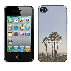 rígido protector delgado Shell Prima Delgada Casa Carcasa Funda Case Bandera Cover Armor para Apple Iphone 4 / 4S /California La Palm Trees/ STRONG