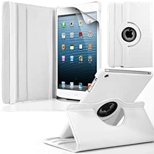GBOS APPLE IPAD MINI CASE -NEW BLACK PREMIUM 360 LEATHER WALLET STAND FLIP + SCREEN PROTECTOR