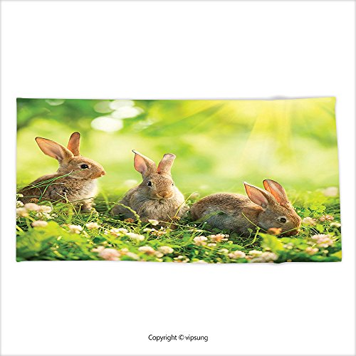 Vipsung Microfiber Ultra Soft Hand Towel Animal Decor Funny Fluffy Rabbits Bunny Family On Daisies Grass Easter Meadow Fresh Image Green Tan For Hotel Spa Beach Pool Bath - Primitive Easter Grass