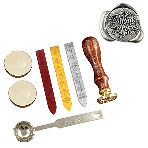 Prestige Collection Letter - KI Store Antique Alphabet Thank you Wax Seal Stamp Kit Vintage Letter/Envolop Wax Sealing Stamps Set with Gold Red Silver Sticks