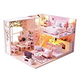 KitsPro DIY Miniature Dollhouse Kit Dust Proof Cover, 1:32 Wooden DIY Dollhouse Kit Led Light as Best Gift, Buildings Collection Home Decoration Girl (Pink Attic)