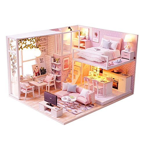 KitsPro DIY Miniature Dollhouse Kit Dust Proof Cover, 1:32 Wooden DIY Dollhouse Kit Led Light as Best Gift, Buildings Collection Home Decoration Girl (Pink Attic) by KitsPro