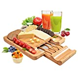Bamboo Cheese Board Set, Fitnate Square Cheese Cutting Board with Cutlery Set, Large Cutting Surface & Hidden Drawer for Knives & Fork for Holiday Gathering Cheese Party Winery Charcuterie 13