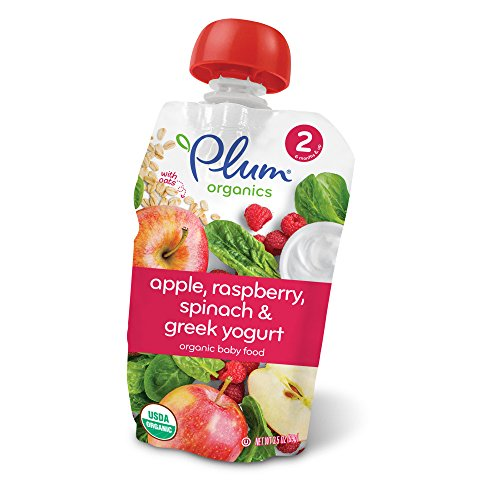Plum Organics Stage 2, Organic Baby Food, Apple, Raspberry, Spinach and Greek Yogurt, 3.5 oz
