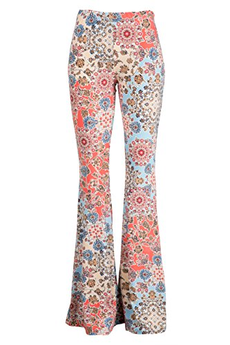 Leggings Flare (Fashionomics Womens Boho Comfy Stretchy Bell Bottom Flare Pants (M, Aqua))