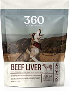 360 Pet Nutrition Freeze Dried Raw Single Ingredient Beef Liver Treats, 4 Ounce