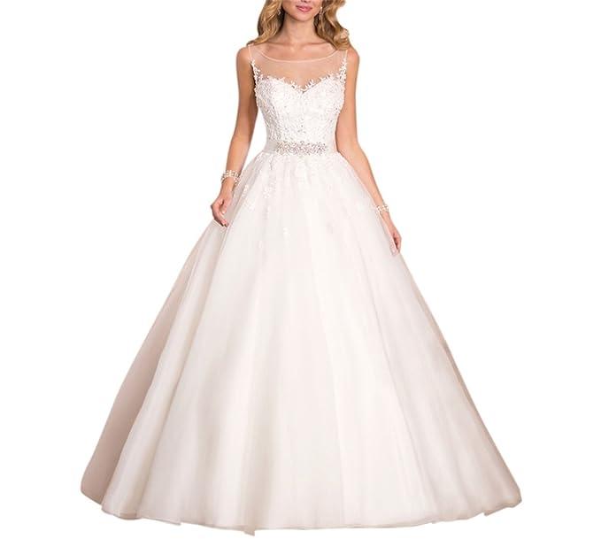 XUYUDITA Vestido de novia elegante con cuello en V vestido de novia de una l¨