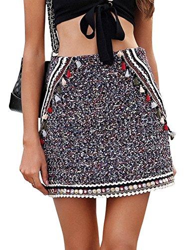 BerryGo Women's Casual High Waist Ethnic Tassel Elegant A Line Mini Skirt Colorful,M
