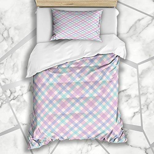 (Ahawoso Duvet Cover Sets Twin 68X86 Summer Blue Check Diagonal Plaid Pattern Pink Stripe Abstract Green Checkered Color Geometric Girly Microfiber Bedding with 1 Pillow Shams )