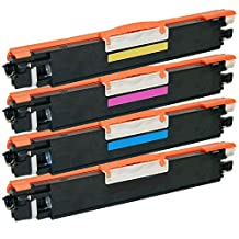 1 Set of 4 Inkfirst® Toner Cartridges CE310A CE311A CE312A CE313A Compatible Remanufactured for HP CP1025NW 126A Black, Cyan, Magenta, Yellow Color LaserJet Pro CP1025nw M175nw TopShot M275 MFP