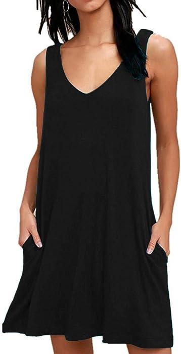 aa2be30326 ... Plain Pleated Tank Dress. AUSELILY Bikini Swimsuit Swimwear Dresses for Women  Beach Cover Up(XS