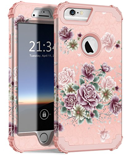 iPhone 6s Plus Case, iPhone 6 Plus Case, Hocase Heavy Duty Shockproof Protection Hard Plastic+Silicone Rubber Protective Case for iPhone 6 Plus/6s Plus - Rose Gold/Purple Flowers