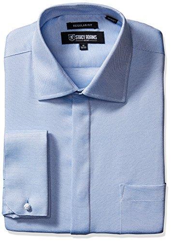 Stacy Adams Men's Textured Solid Dress Shirt, Blue, 15.5