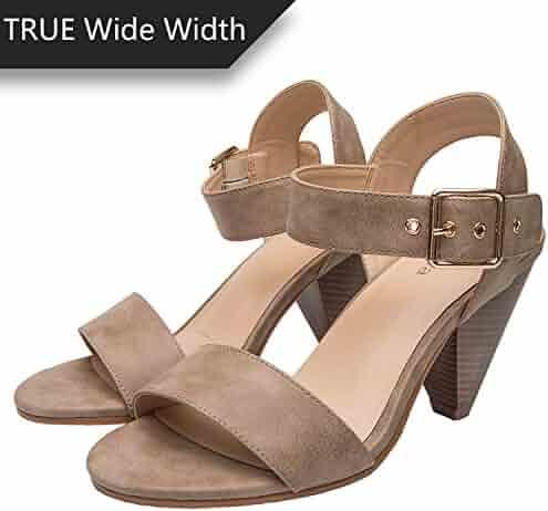 9659002d2f0 Luoika Women s Wide Width Cone Heeled Sandal - Open Toe Ankle Strap  Adjustable Metal Buckle Low