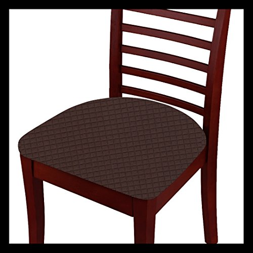 Fancy Linen 2pc Chair Pad Cover Set for Dining Chair Waterproof Stretchable Breathable Seat Cover Solid Coffee/Dark Brown New