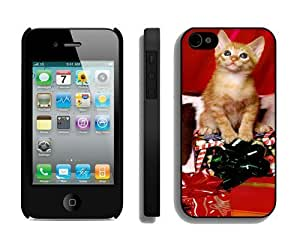 2014 Latest Christmas Cat Black iPhone 4 4S Case 1