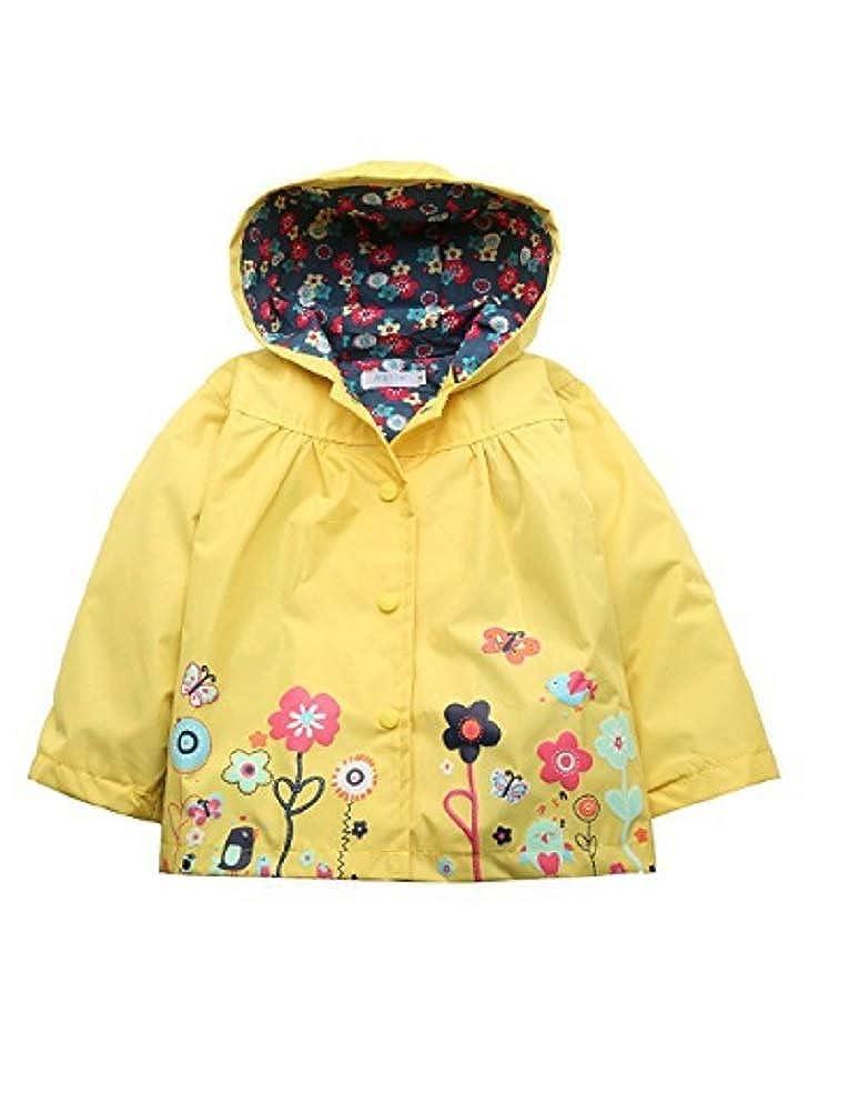 Koo-T Girls Rain Coat Jacket Summer Hood Windbreaker Spring Mac Raincoat Age 1 to 6 Years Pink//Blue//Green//Purple//Red