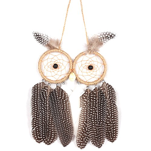 RagBear Dream Catcher For Car Mirror Small White Hanger Catchers Mirrors Owl A ()