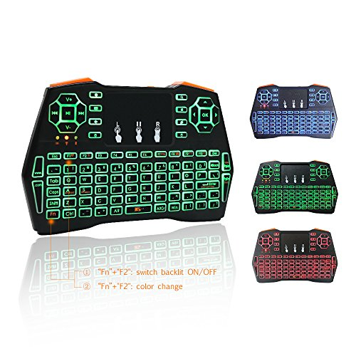 KUD i8+ 2.4GHz Plus Mini Wireless Keyboard with Touchpad Mouse Rechargable LED Backlit Handheld Remote Control Controller for Android TV BOX Smart TV PC Notebook Mini PC Li-ion Battery