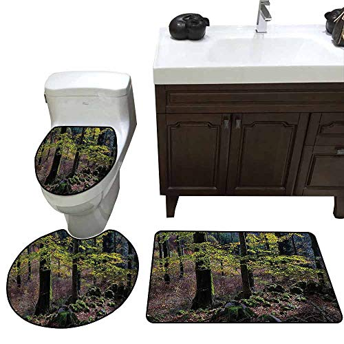 3 Piece Bathroom Rug Set Forest Natural Scenery Trees Autumn Season in Woods Wilderness Rural Growth Eco Photo 3 Piece Toilet Cover Set Green Light Pink