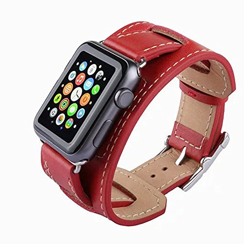 Leather Cuff Style Band - New Cuff Genuine Leather Style Apple Watch Strap Band for iWatch 38/42mm Vintage Style (Red-38mm)