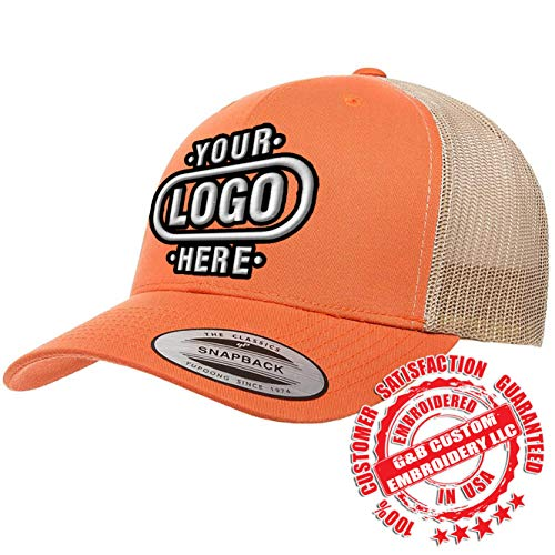 6606, 6606T, 6606MC, 6606C Yupoong Retro Trucker Custom Hat (Logo - Rustic Orange/Khaki)