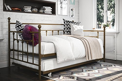 Sturdy Manila Daybed, Bed Frame, Metal Platform Slat Support, Easy-Assembly, Heavy Duty, Durable, Under-Bed Storage, Headboard, Twin Size, Extra Seating, Bedroom Guest Room, Multiple Finishes