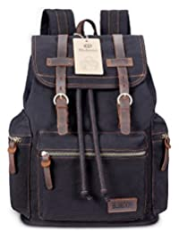 Vintage Mens Backpacks Canvas Leather Rucksacks Casual Bag ( Black)