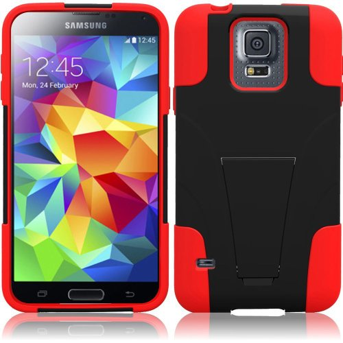Samsung Galaxy S5 Case + Tempered Glass Screen Protector Combo - (TechAccess) Black-Red Utra-Tough Heavy Duty Cover Case Dual Layers Protector Fold-in Stand + Tempered Glass Screen + TA Gift Box