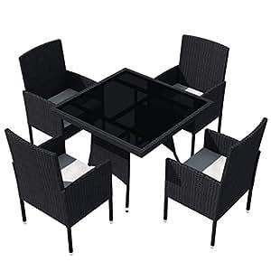 Mesa de cristal con 4sillas de jardín (Polirratán negro