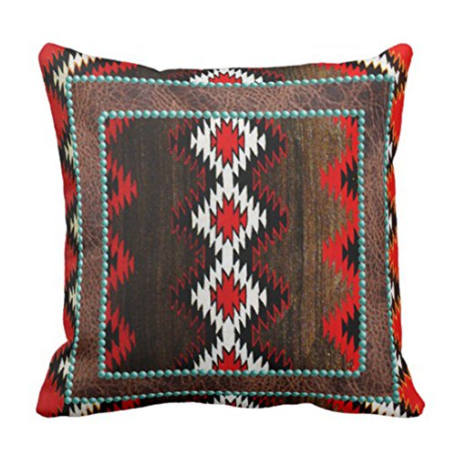 Emvency Throw Pillow Cover Cultural Ethnic Geometric Tribal Decorative Pillow Case Western Home Decor Square 16 x 16 Inch Cushion Pillowcase