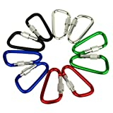 "AGPtek 6/24 Pcs 3""/8cm Carabiner Aluminum Locking Clip Camping Hook Keychain Hiking -Assorted Colors of Purple Silver Green Black Blue Red, Screw Gate D Shaped"