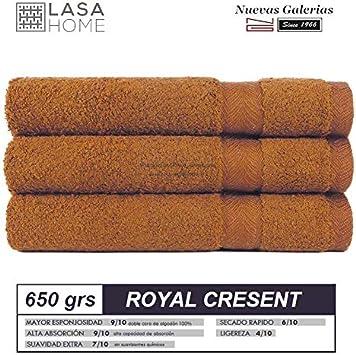 Lasa Royal Cresent 650 Gramos - Juego de 3 Toallas para tocador, 40 x 60 cm, Lavabo, 50 x 100 cm y baño, 100 x 150 cm, Color caldero 2539
