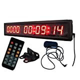 Ledigtal LED Days Countdown Clock Red Color 1.8'' 10 Digits Count up to 10000 Days with Hours Minutes Seconds LED Large Digital Countdown Clock IR Remote Control Aluminum Case
