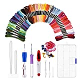 HailiCare Magic Embroidery Set Embroidery Stitching Pen Punch Needles Craft Tool Set Combination Including 50 Color Threads and Storage Box for DIY Sewing Cross Stitching