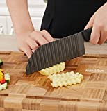 LALIHA Garnishing Knife French Fry Cutter Crinkle Potato Slicer Stainless Steel Crinkle Cut Knife Potato Dough Waves Crinkle Cutter Slicer, Home Kitchen Chip Blade Cooking Tools (Original size)