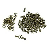 MagiDeal 30 Sets Antique Bronze Vintage S Hook Clasps End Caps Leather Cord Clasps Jewelry Making Findings for Necklace Bracelet Crafts Wholesale