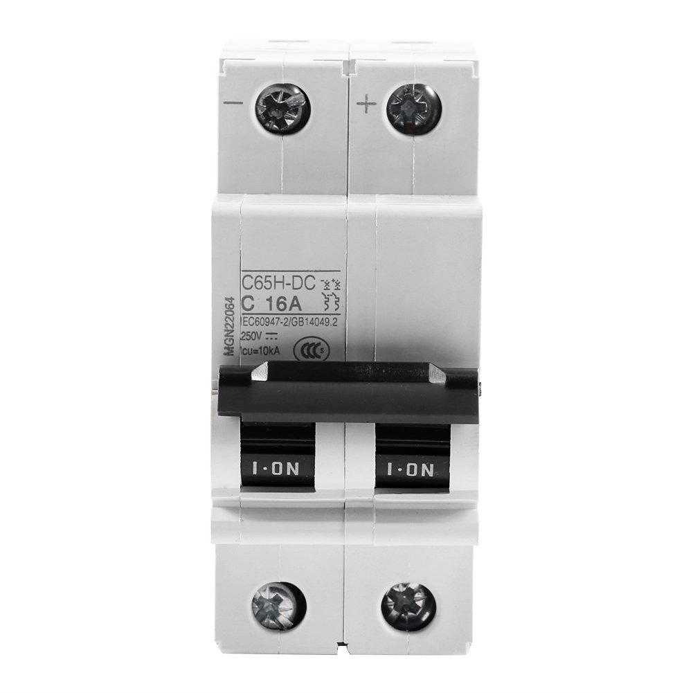 Akozon Miniature Circuit Breaker, DC 250V 2P Low-Voltage Miniature Air Circuit Breaker Solar Energy Switch 16A/32A/63A for Solar Panels Grid System, Wind and Solar Hybrid System(13A)