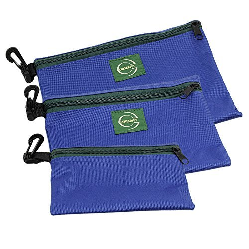 3-Piece CONTAIN-IT Rugged Nylon Canvas Zipper Bags with Clips for Hanging - 3 Different Sizes - 8.5