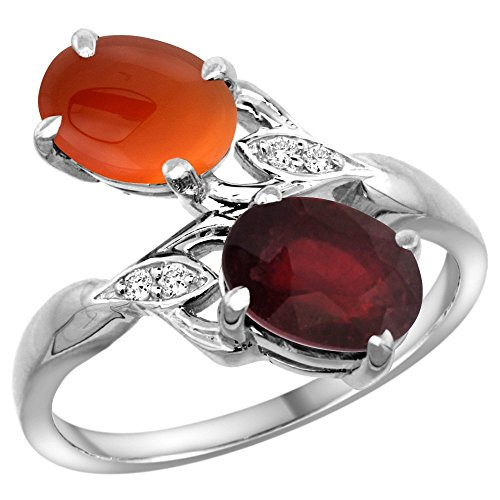 14k White Gold Diamond Enhanced Genuine Ruby & Natural Brown Agate 2-stone Ring Oval 8x6mm, size 10