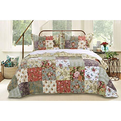MISC 3pc Oversized King Bedspread Set Floor, Lavender Coral Rose Ivory White Green Blue, Colors, Floral Squares Pattern, Country Cottage Patchwork Quilt, 120 X 118