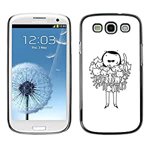 All Phone Most Case / Hard PC Metal piece Shell Slim Cover Protective Case Carcasa Funda Caso de protección para Samsung Galaxy S3 I9300 cat lady funny cartoon drawing black