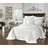 1 Piece 114 X 120 Solid White Oversized Bedspread King To The Floor, Hangs Over Edge Bedding Drops Side Bed Frame Drapes Large Extra Wide Long Matelasse Classic Motif Pattern, Cotton